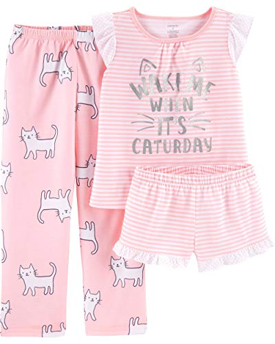 (Carter's Girls' 3-Piece Poly (Pink/Cats, 10))