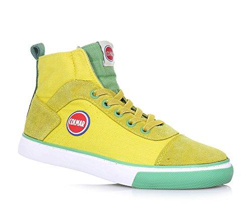 COLMAR - Gelber und grüner Sneaker mit Schnürsenkeln, aus Stoff und Wildleder, seitlich ein Reißverschluss, Jungen