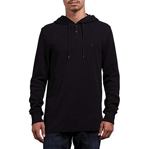 Volcom Men's Murphy Long Sleeve Hooded Thermal Shirt, Black, Extra Large