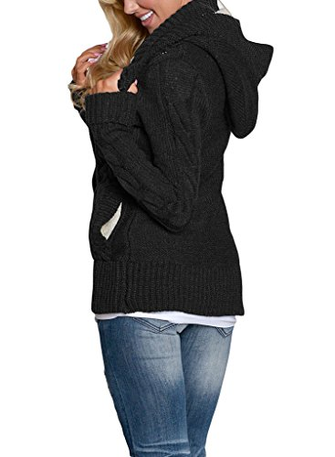 Jual Sidefeel Women Hooded Knit Cardigans Button Cable Sweater Coat ... 2e25a7794