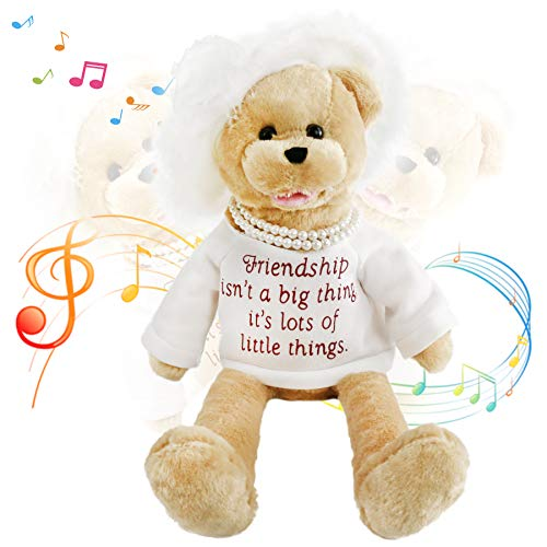 Houwsbaby Electronic Lady Teddy Bear Musical Stuffed Animal Singing and Swinging Plush Toy Interactive Animated Kids Gift Mother's Day, 20 in (White)
