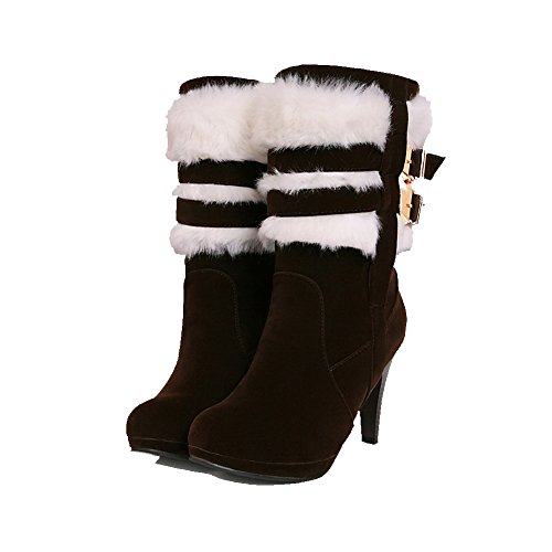 top High AmoonyFashion Low on Women's Boots Solid Pull Heels Suede Brown Imitated Iwq8CwA