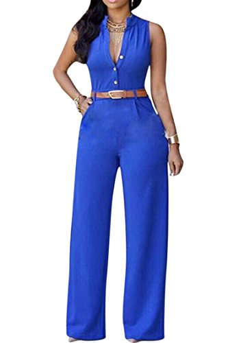 Pink Queen Womens Jumpsuits Blue Sleeveless Loose Pants Belted Jumpsuits Rompers S Blue