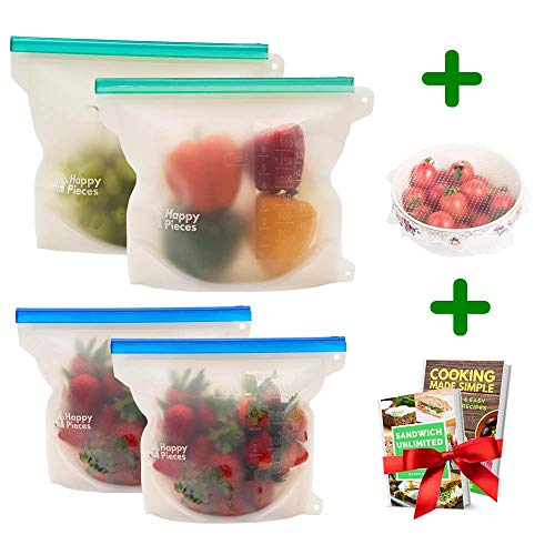 Reusable Silicone Food Storage Bag for Sous Vide, Freezer, Microwave, Dishwasher, Perfect for Sandwich, Fruits, Vegetables, Soup, Snack, Airtight Zip and Easy Open Seal, Set of 4 Storage Bags
