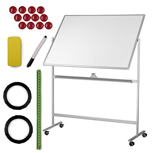 White Board | Dry Erase Magnetic Whiteboard Large Mobile Standing Double Sided Rolling White Boards W/Wheels 48x36 | Portable Classroom & Office Space Reversible + Dry Erase Eraser, 6 Magnet + Tape ()