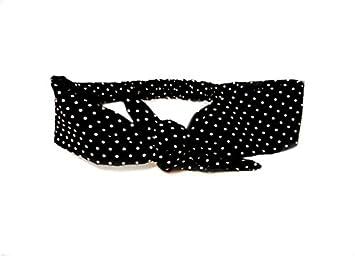 a2f1933d9e7b Amazon.com : Retro Bow Tie Black Dot Head Scarf Rockabilly Tie Headband  Headscarf Vintage : Beauty