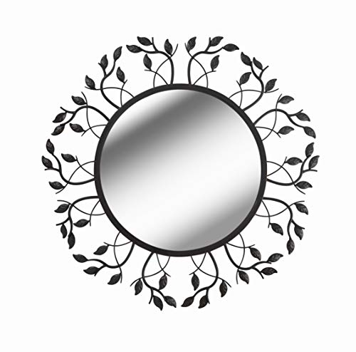 (Kenroy Home Rustic Round Wall Mirror, Sunburst Frame with Leaf and Vine Accents, Lightweight, Easy-Hang D-Rings, Oil Rubbed Bronze, 37 Inch Height, 37 Inch Width, 1 Inch Ext)