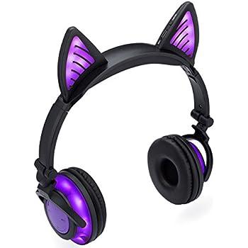 SoundBeast Bluetooth Cat Ear Headphones with Glowing Purple Lights -  Wireless Headphones for Kids   Adults 78ab12a97c