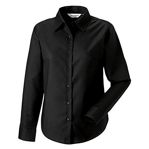 Russell Collection- Camisa de manga larga con tejido Oxford de fácil cuidado para mujer Azul azteca