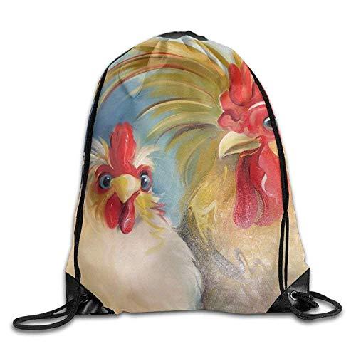 Couple Chicken Art Print Drawstring Backpack Rucksack Shoulder Bags Gym Bag...