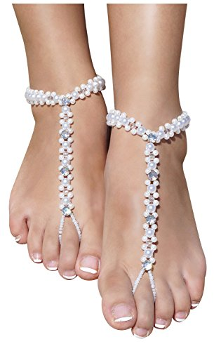 [Women's Lady's White Pearl Anklets Beach Wedding Barefoot Sandles, White + Rhinestone] (Costume Design Online Classes)