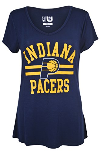 fan products of NBA Women's Indiana Pacers T-Shirt V-Neck Relaxed Fit Short Sleeve Tee Shirt, X-Large, Navy