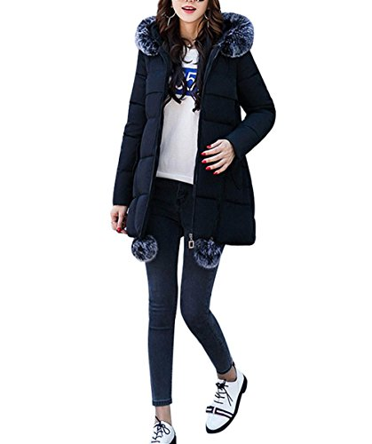 S Cotton Snow Coat Day Super BLACK Color Warm Down XL Thickening Jacket Hooded Women'S Long Jacket Jacket Winter Pocket Light Zipper Solid Section FTtBxAn