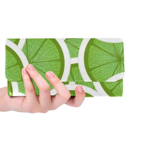 Womens Wallet Green Lime Printed Girls Long Clutch Wallets Ladies Trifold Purse Card Bag