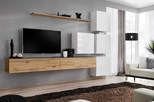 Wohnwand mit Led Beleuchtung Hochglanz TV Board Anbauwand ...