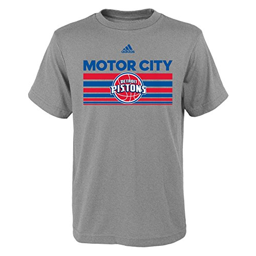Boys Youth Born One Short Sleeve Tee, Large (14-16), Heather Grey (Adidas Detroit Pistons Basketball)