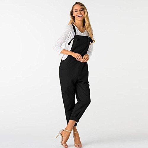 pour Vrac en Pantalon Poches sans Noir Femmes Dungarees LSAltd Manches Femmes Longue avec Jumpsuit RAWqt
