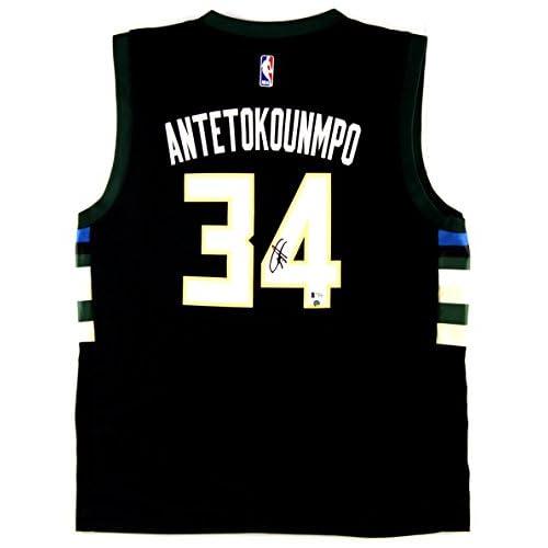 750ee54dde0 Giannis Antetokounmpo Autographed Signed Milwaukee Bucks Black Swingman  Jersey