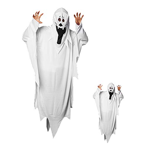 (Two-Piece Halloween Ghost Costume Adult Kids Long Tongue Flowing Cape Mask)