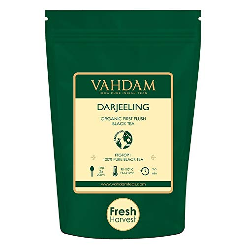VAHDAM, 2019 First Flush Darjeeling Tea -50 Cups (3.53oz) | Loose Leaf Black Tea - Flowery, Aromatic & Delicious | Picked, Packed & Shipped Direct from India | Champagne of Teas | Mellow & Fragrant