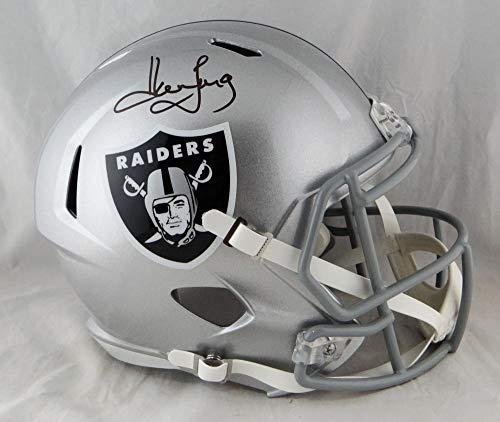 Howie Long Autograph - Howie Long Autographed Oakland Raiders F/S Speed Helmet- JSA-W Auth Black