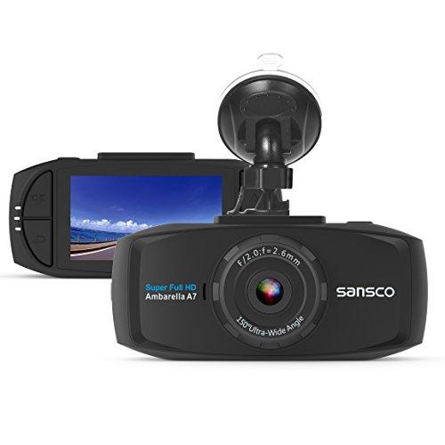[2-Pack] SANSCO 2K Extreme HD 1296P 2304x1296 Car Dash Cam, 2.7