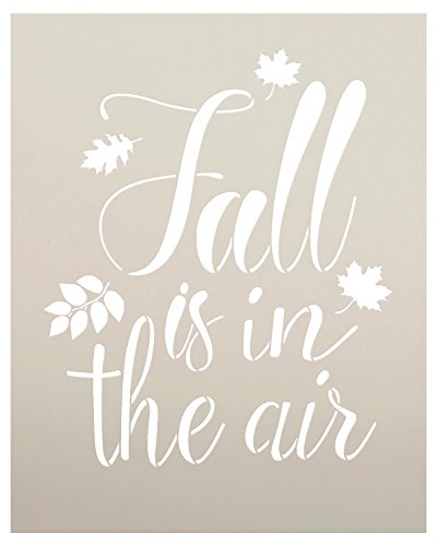 Templates Autumn Leaves - Fall is in The Air Stencil by StudioR12 | Script Letters | Reusable Word Template for Painting on Wood | DIY Home Decor Sign | Fall Leaves Autumn |Chalk, Mixed Media and Craft |Select Size (8