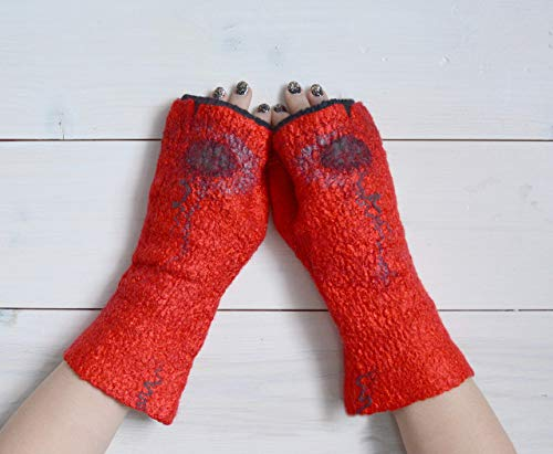 Mittens without fingers are red-black woolen designer, ()