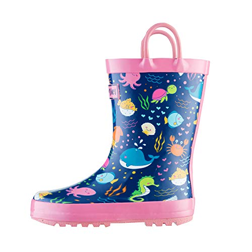 Boot Animal (CasaMiel Kid&Toddler Boys Rain Boots for Children, Handcrafted Rubber Boots for Girls, Graphic Pattern)