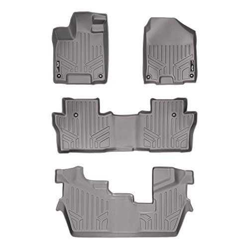 SMARTLINER Floor Mats 3 Row Liner Set Grey for 2016-2019 Honda Pilot (No Elite Models)