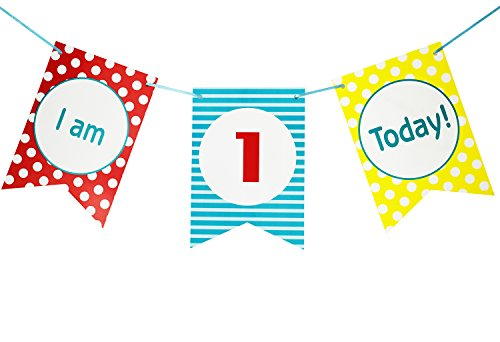 - Brcohco I'm 1 Today Cute High chair Banner 1st Birthday for Baby First Birthday Party Decoration Supplies(Red, Blue,Yellow)