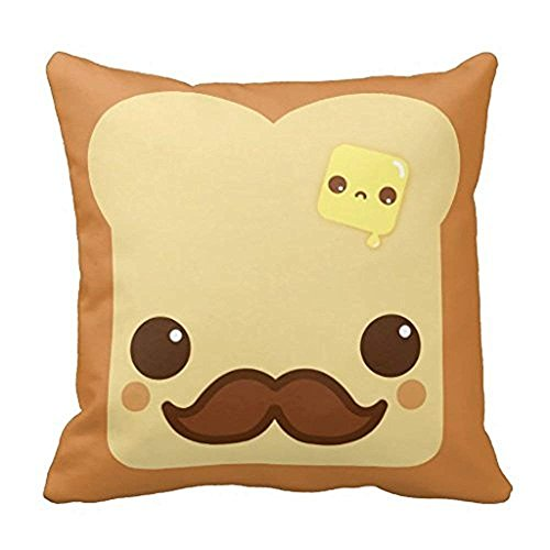 Kawaii Toast With Mustache And Butter Pillow Case 18x18Inch