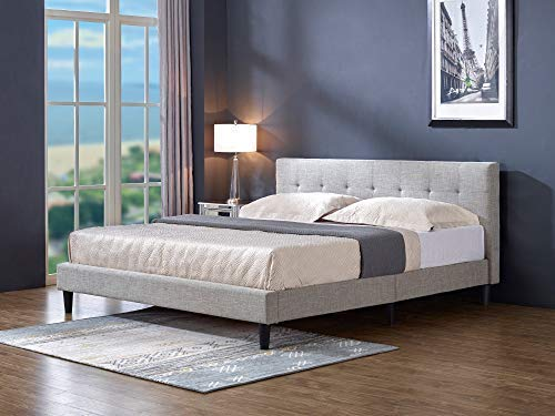 MUSEHOMEINC Classical Upholstered Platform Bed with Wooden Slats Support, Queen
