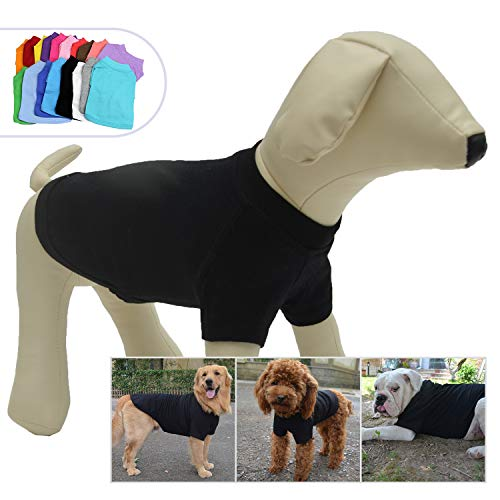 Lovelonglong 2019 Pet Clothing Dog Costumes Basic Blank T-Shirt Tee Shirts for Small Dogs Black L -
