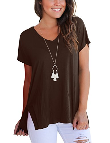 (Pullover T Shirt for Women V Neck Short Sleeve Tops Summer Basic Tees Coffee S)