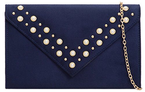 Clutch Bag Girly Navy HandBags Girly HandBags Pearls Design OHXqwCw