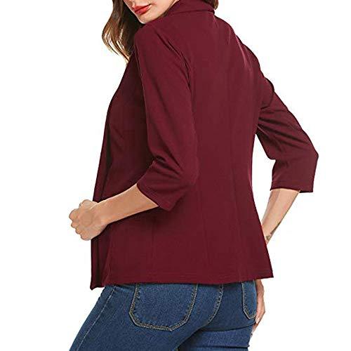 Front Mini Rouge Bringbring Manteau 4 Manches Ouvert Cardigan Travail Unie Suit Couleur 3 Blazer Femme de wvqRAA
