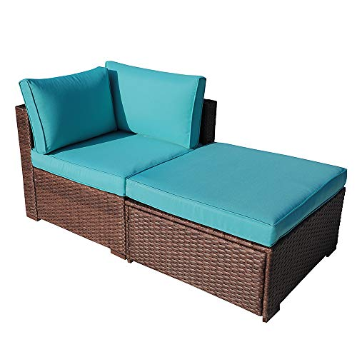 OC Orange-Casual 2 Piece Patio Sectional Furniture Set with Back Seat Cushions, Outdoor Armchair Wicker Sofa, Ottoman Brown Wicker & Turquoise Cushion