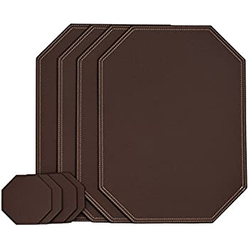 Nikalaz Set Of Brown Octagon Placemats And Coasters, 4 Table Mats And 4  Coasters,