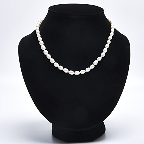 Double Strand 18' Sterling Necklace (Handmade Oval Strand Necklace Freshwater Cultured White Pearl Sterling Silver Buckle 18'', AA)