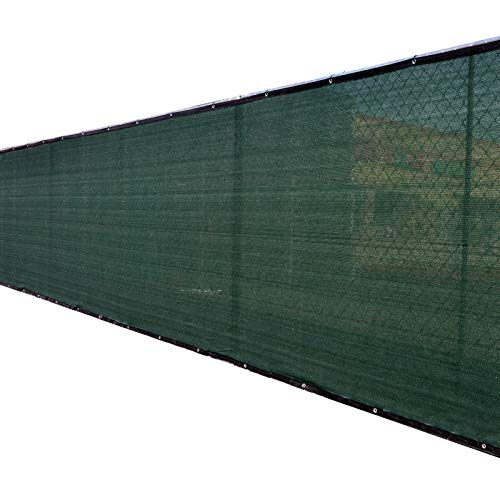 Fence4ever 6'x25' 3rd Gen Dark Green Fence Privacy Screen Windscreen Shade Cover Mesh Fabric (Aluminum Grommets) Home, Court, or Construction (Decorative Aluminum Fence)