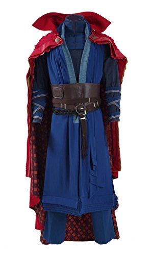 2016 Hot Movie Doctor Costume Blue Heavy Robe Red Cloak Cosplay Outfit (US Men-M, Blue) -