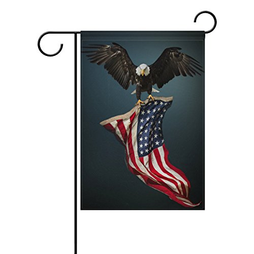 Vantaso Garden Flag Decorative North American Bald Eagle With Usa Flag Polyester Double Sided Printing Fade Proof for Outdoor Courtyards Garden 12x18 inch