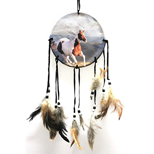Fenta Handmade Horse Oil Painting Pattern Dream Catcher with Feathers Car Home Wall Hanging Decoration