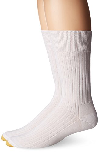 Gold Toe Men's Comfort Top Non-Elastic English Rib Crew 2 Pack S4, White, 8.5-9 ()