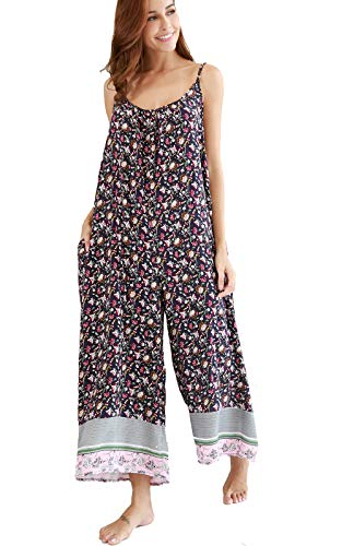 Buenos Ninos Women's V Neck Floral Wide Leg Pants Boho Printed Adjustable Spaghetti Strappy Long Jumpsuit with Pockets Pink XXL