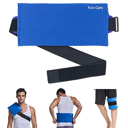 """Koo-Care Large Gel Ice Pack & Wrap with Long Strap Hot Cold Therapy Pack for Shoulder, Waist & Lower Back, Belly, Thigh, Knee, Shin - Great for Injury, Sprain, Bruise - 15.5"""" x 7.3"""""""
