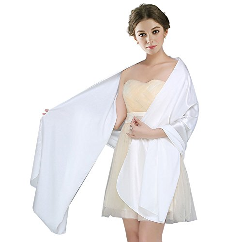 Fashion Soft Womens Wrap Bridal Evening Silk Like Satin Shawl for Wedding - Dress Shawl Wedding Gown