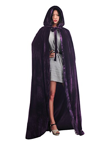 Topwedding Christmas Deluxe Cloak Adult Halloween Costumes Capes, purple, (Full Length Satin Cape)