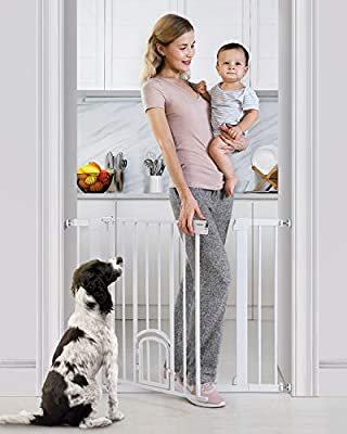 "Cumbor 40.6""Auto Close Safety Baby Gate with Arch Cat Door, Extra Wide Durability Pet Gate for Dog, Easy Walk Thru Child Gate for Stairs,Doorways. Included 2.75-Inch and 5.5-Inch Extension"
